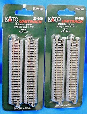 "4pcs 20-020 Kato N-scale UniTrack Straight Track 124mm 4-7//8/"""