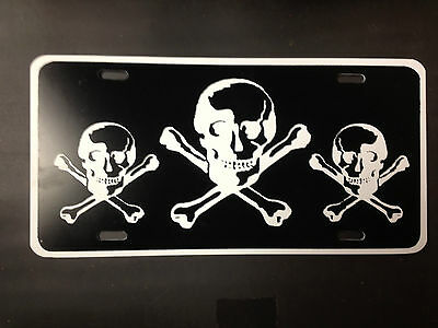 "White With 3 Black Skulls Funny Novelty License Plate Auto Car Tag 6""x12"""