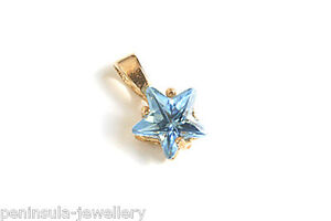 9ct gold blue star pendant no chain made in uk gift boxed ebay image is loading 9ct gold blue star pendant no chain made aloadofball Gallery