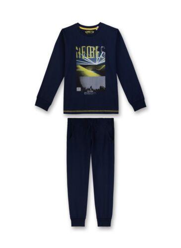140-176 blau   H//W 18//19  Gr Sanetta Jungen langer Schlafanzug 2-tlg