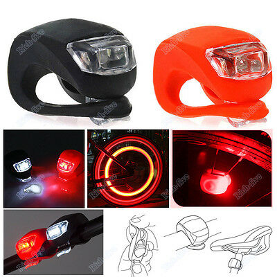 2X Silicone Bicycle Bike Cycling HeadLight Front Rear Wheel LED Flash Light Lamp