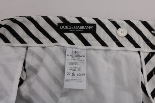 NEW $780 DOLCE /& GABBANA Pants White Black Striped Cotton Slim Fit s W38 IT52