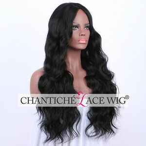 Realistic Synthetic Hair Wigs Black Long Natural Wavy Full Wig Heat ... 986924bea11e
