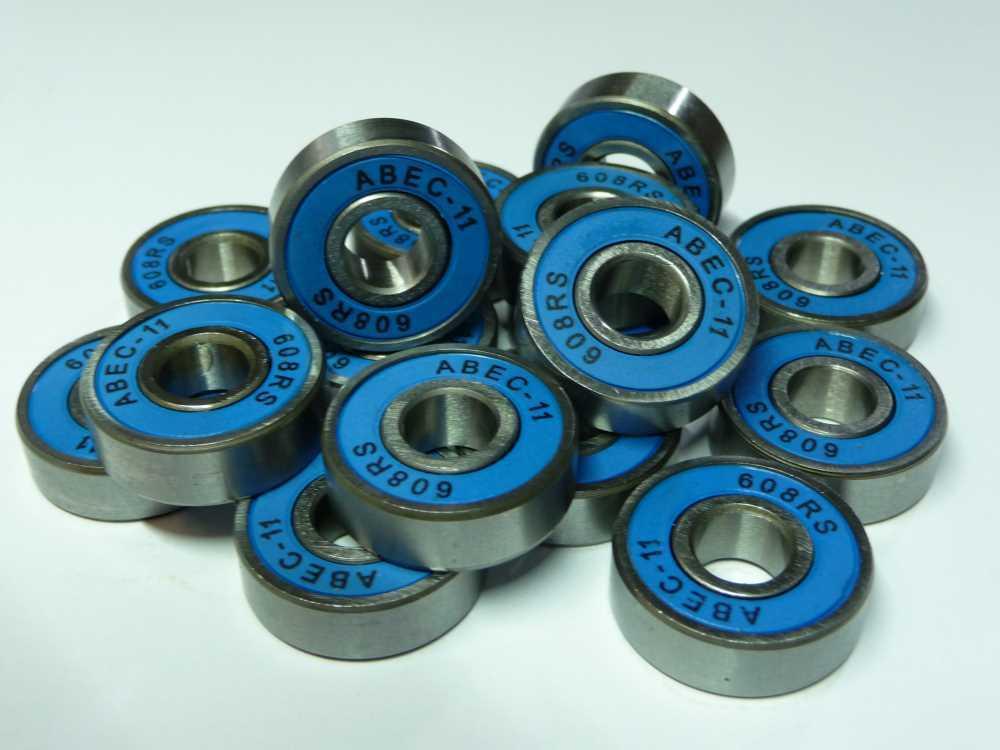 16xABEC11-Kugellager 608-2RS.ABEC11- silber/hellblau - ... 8x22x7mm ..NEU
