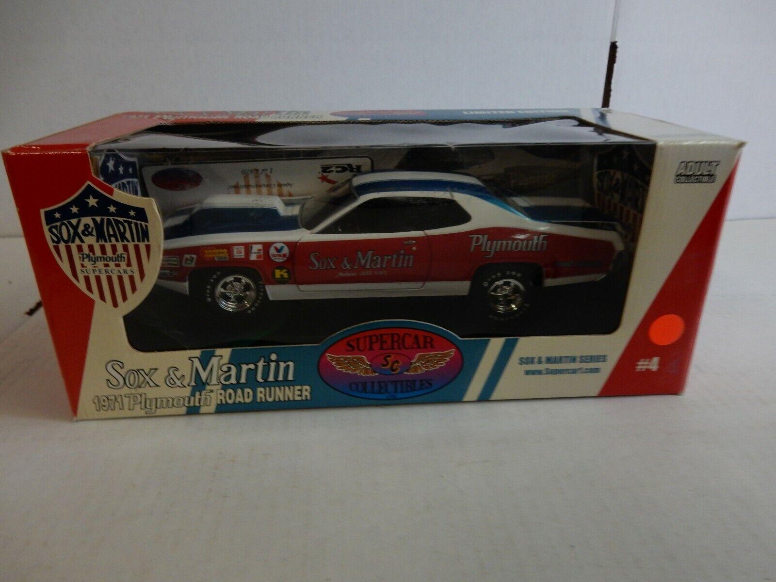 1971 PLYMOUTH ROAD RUNNER SOX & MARTIN  RACE CAR  1.18 DIECAST  NHRA
