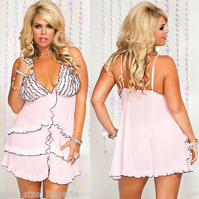Plus Size Lingerie Queen fits XL 1X 2X Pink Ruffled Babydoll ML56060Q