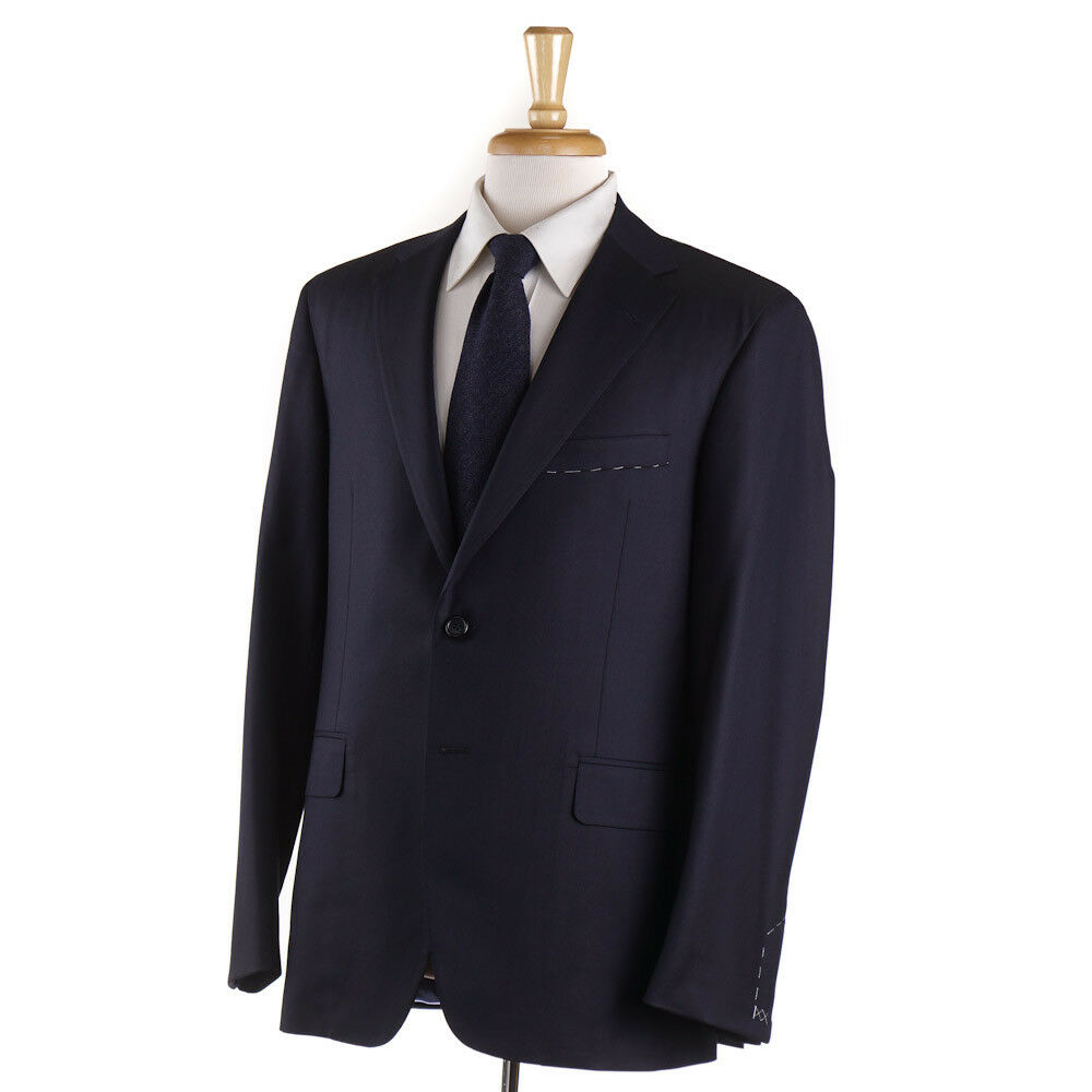 NWT  OXXFORD HIGHEST QUALITY 'Randolph' Solid Navy 140s Wool Suit 44 R