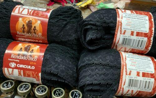 Circulo Rendado Trico Poliamida//Acrylic Lace Yarn 22 mtrs Black 1 skein