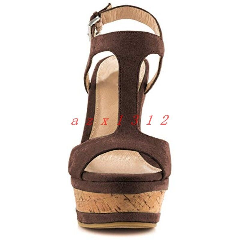 Women Peep Toe T-Strap T-Strap T-Strap High Wedge Heel Platform Slingback Sandals shoes Fashion 10b580