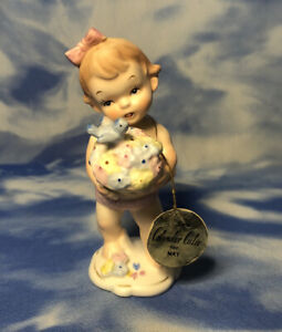 "HTF Vintage Napco Calendar Cuties ""May"" Girl Figurine Flowers Bird C-5765 w/ TAG"