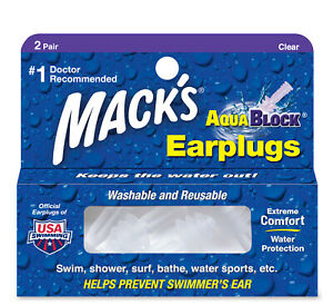 Mack-039-s-AquaBlock-Earplugs-Clear-2-Pair-Swim-Shower-Washable-Reusable