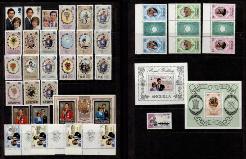 1981 GB & Commonwealth Charles & Diana Royal Wedding Collection of 33 MNH