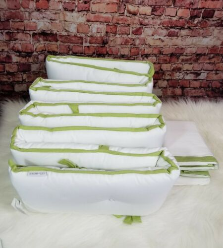 Serena /& Lily Sprout Basics Crib Bumper and Crib Skirt Set White Green Trim