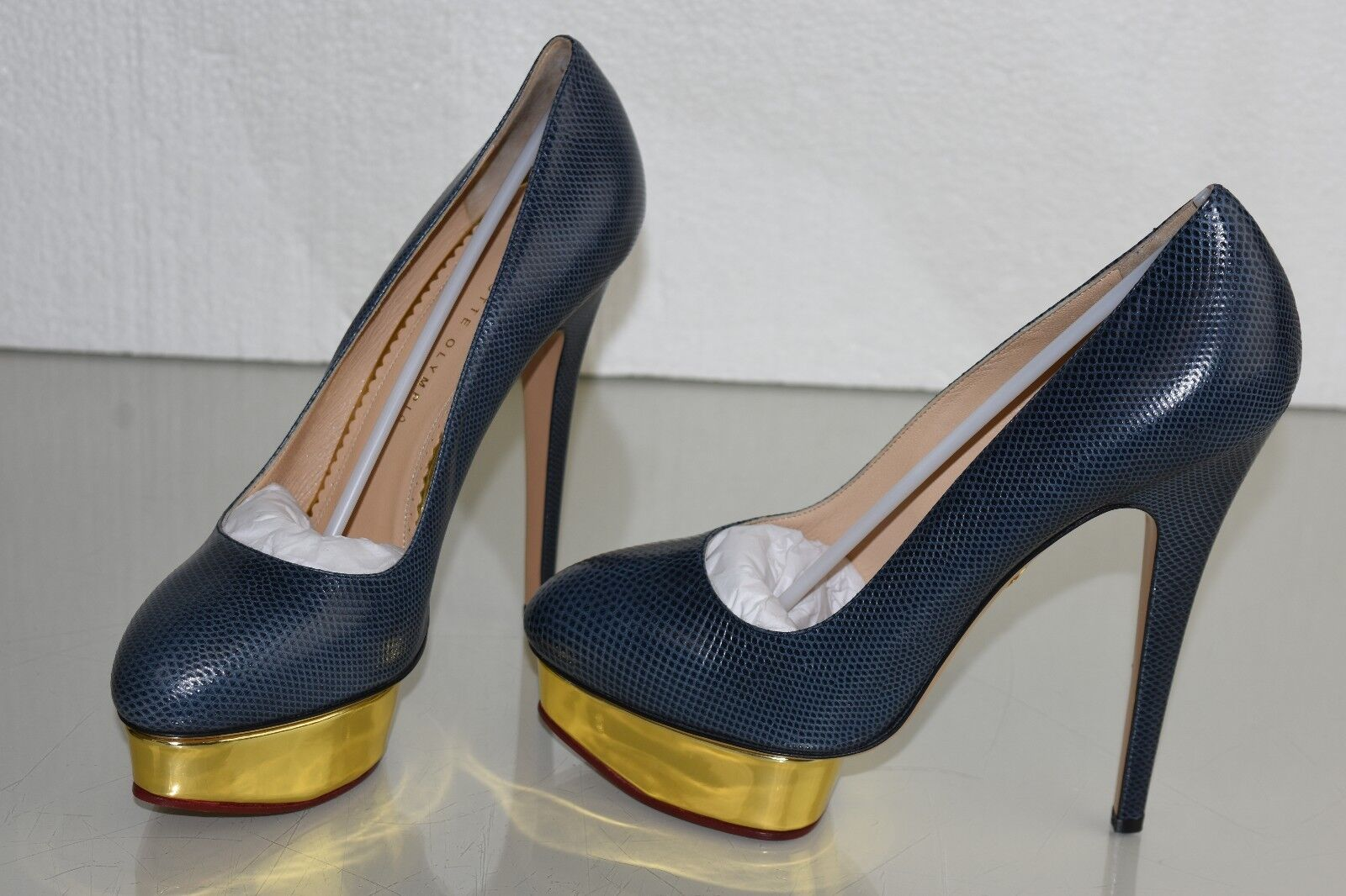 Neuf Neuf Neuf Charlotte Olympia Dolly Couvert Karung Plateformes Bleu Chaussures Plates eaf9a3