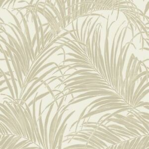 Kiss Folie Palme Blatt Tapete Gold/Creme Arthouse 903201 - Metallisch