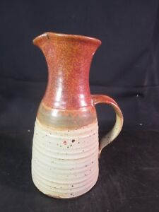 """Art Pottery 10-1/2"""" Studio Pottery Two Tone Pitcher Signed """"myers"""" Studio/ Handcrafted Pottery"""