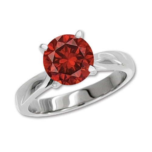 0.5 Carat Red SI2 RD Solitaire Ring 14K White gold Valentineday Spl.Sale