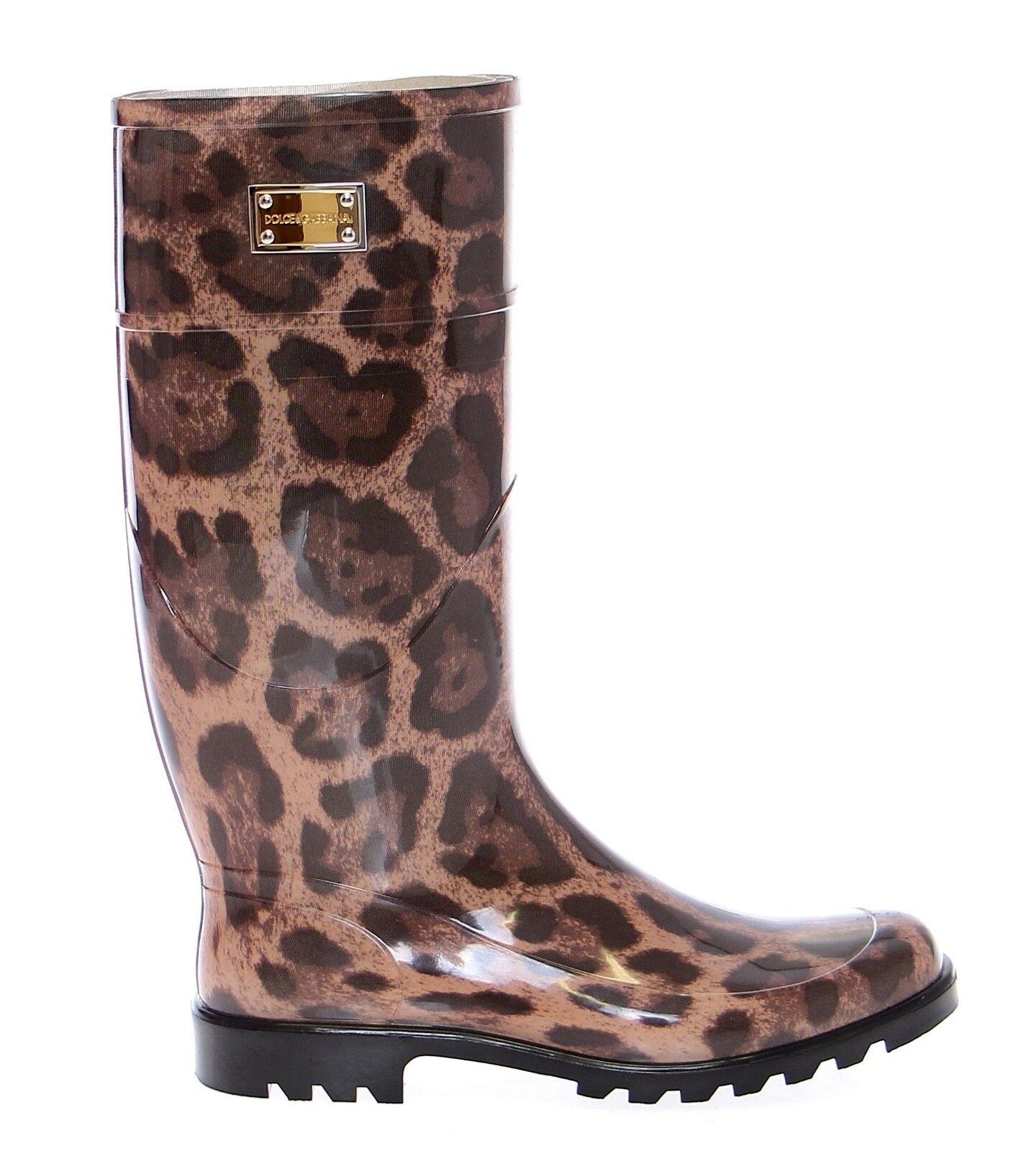 modelo más vendido de la marca Nuevo con Etiqueta Dolce Gabbana & Gabbana Dolce Leopardo Gomilla Botas de Lluvia Stivali S 10f1dd