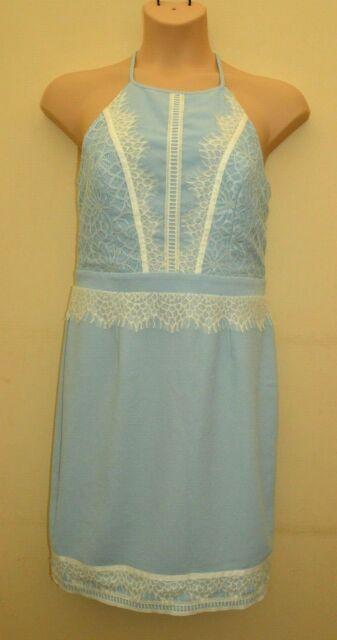 New Lipsy Lace High Neck Cornflower Blue Dress Sz UK 10 12 14 16