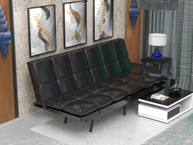 Leather Sofa Futon Couch Bed Sleeper
