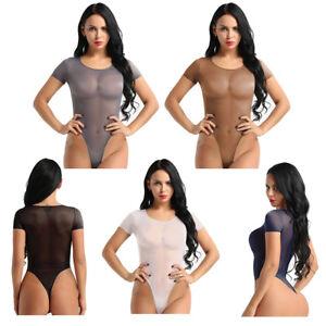 Womens Long Sleeve Stretch Bodysuit Ladies Leotard Body Sheer Lace Top T shirt