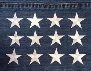 Lot 12Pcs One Dozen 1 1/4 White Star Embroidery Iron On Applique Patch