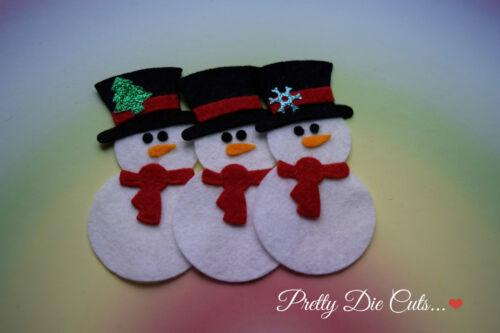 Felt Snowman Christmas Craft Embellishments Pack of 3 Snowmen