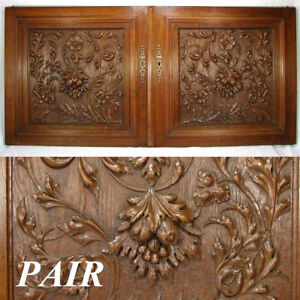 LG-25-034-Antique-Victorian-Brack-Forest-Style-Oak-Cabinet-or-Furniture-Door-PAIR