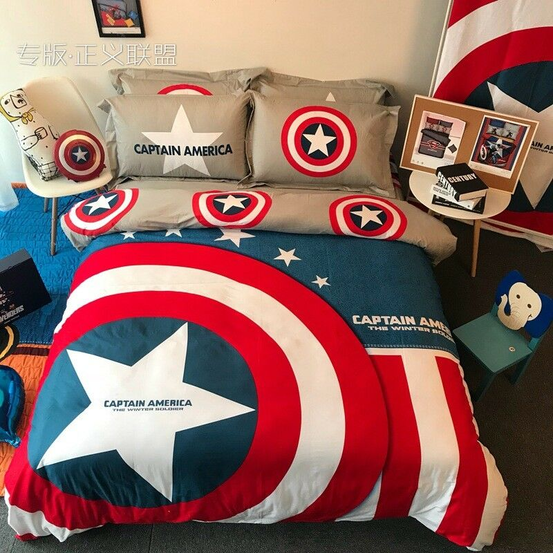 Captain America Shield Twin Queen King Size Duvet Cover Bedding Set Teens Gift