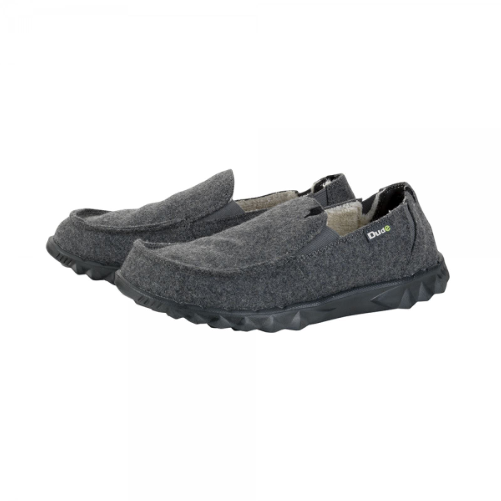 Hey Dude Slip Chalet On Hombre Zapatos Farty Chalet Slip Gris Felt Leather Insole e0fc40