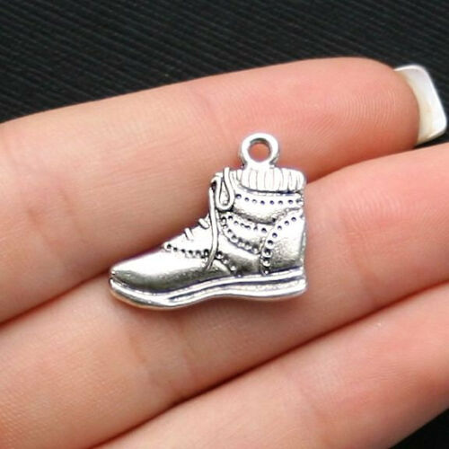 SC1462 8 Hiking Boot Charms Antique Silver Tone 2 Sided
