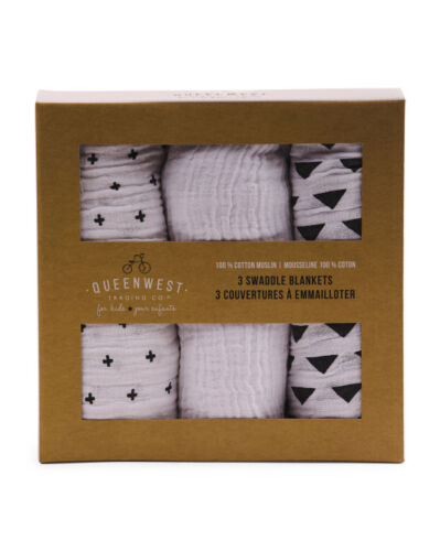 Swaddle Baby Blankets 3 Gift Box Cotton Muslin B/&W patterns 40X40 Infant Gift