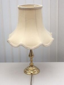 Nice Classic Brass Style Table Lamp With Quality Cream Fabric Lined Shade Ebay