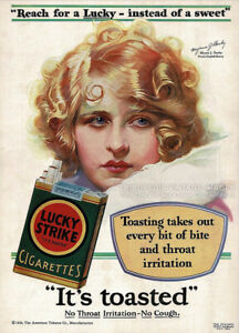 Advertising Art Print MYRNA DARBY Vintage 1929 LUCKY STRIKE Cigarettes Ad