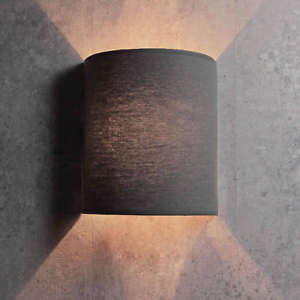 60W Wandleuchte Loft Halbrund im Modern Stil Grau Stoffschirm 1x E27 bis Max