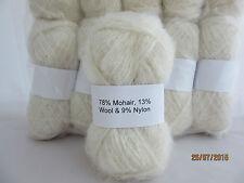 Mohair Wool Yarn 10 x 50g Balls White 78% Mohair Double Knitting