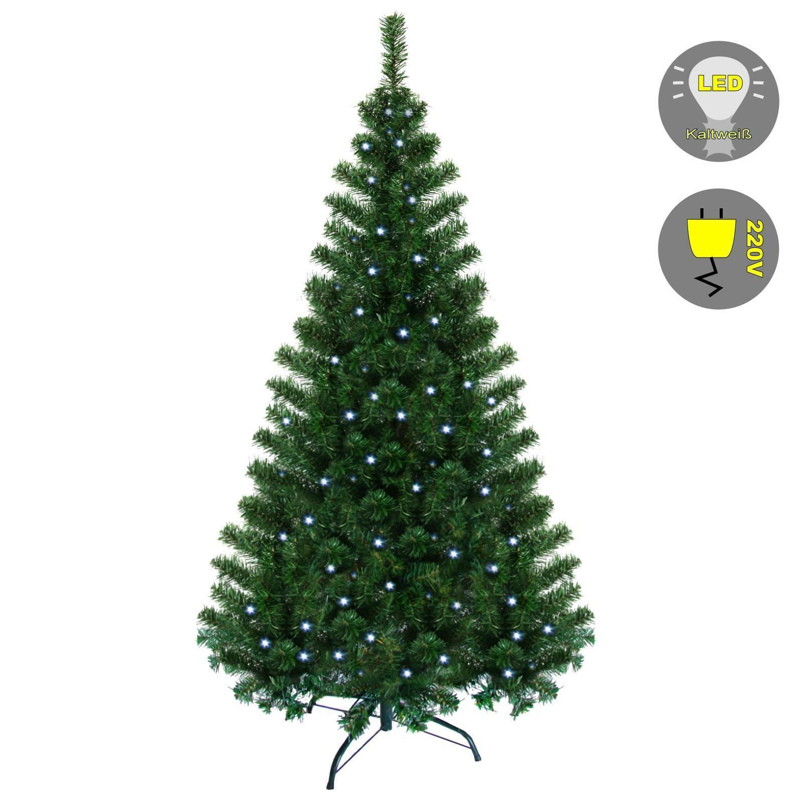 Weihnachtsbaum Christbaum Tannenbaum grün 240 cm mit Lichterkette in kaltweiss