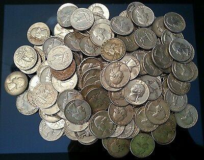 Lot of 100 Silver Washington Quarters (Random Dates 1932-1964) - Free Shipping!