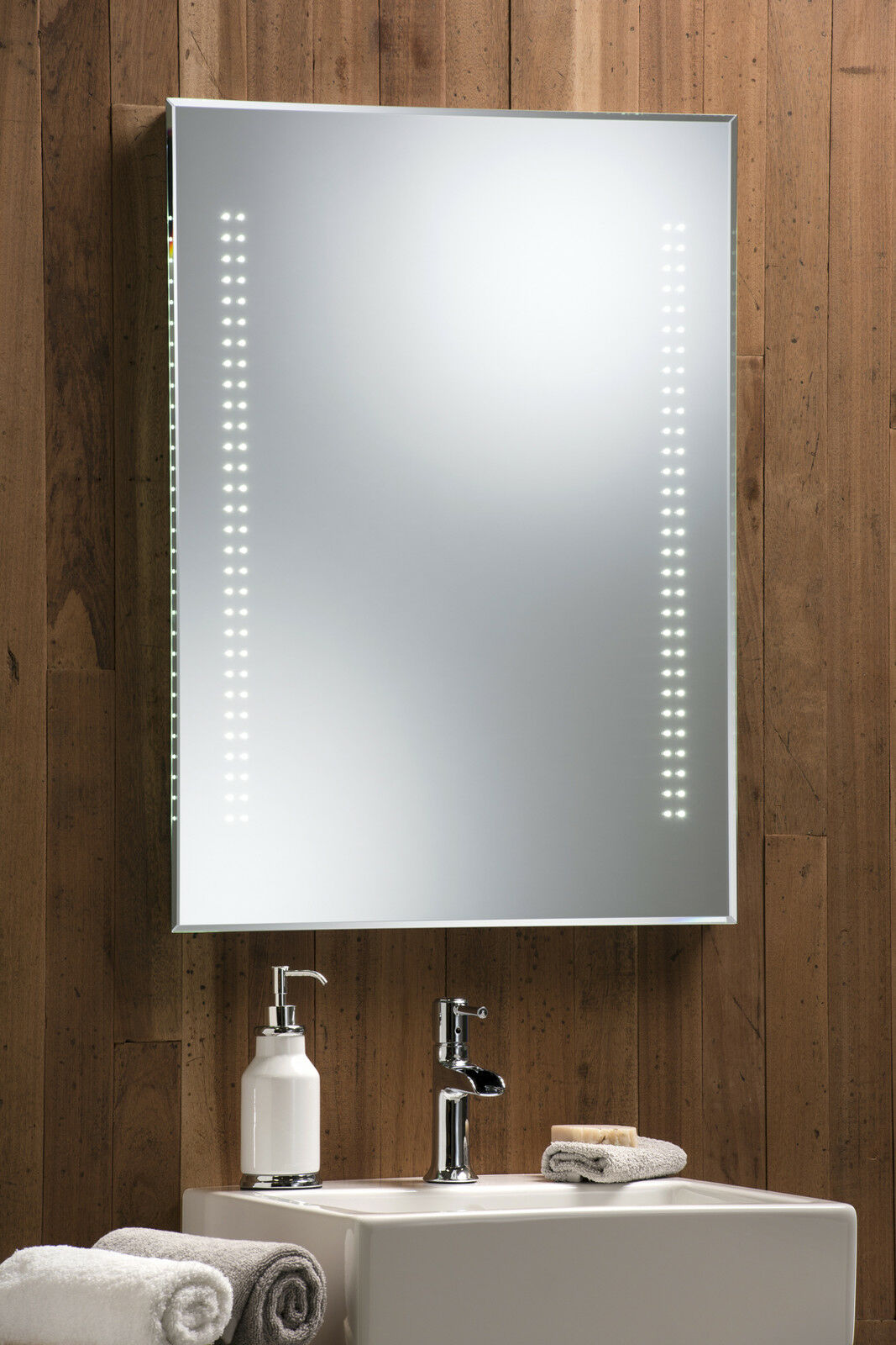 ILLUMINATED BATHROOM MIRROR ~ LED SENSOR & DEMISTER 80cm x 60cm ...