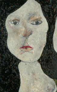 Ben-Carrivick-Signed-Contemporary-Oil-Lady-with-Black-Hair
