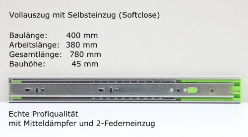 Schubladenschienen Teleskopauszüge Selbsteinzug Dämpfer Vollauszug 45 mm 400 mm