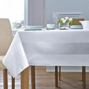 White-100-Egyptian-Cotton-Table-Cloth-Satin-Band-Design