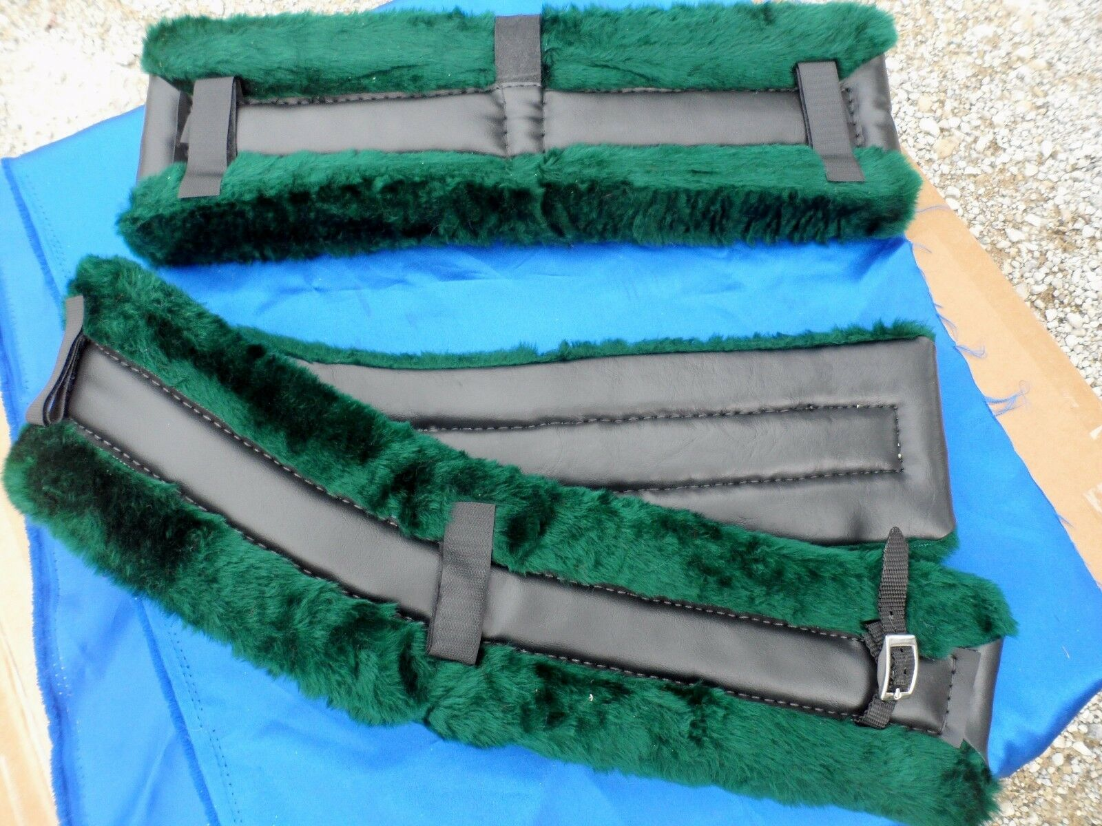 Horse or Mule Fleece Harness Saddle & Breast Collar Pads Set Amish Made GREEN