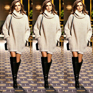 Women-Chunky-Knit-Sweater-Baggy-Knitwear-Mini-Dress-Long-Sleeve-Pocket-Jumper-US