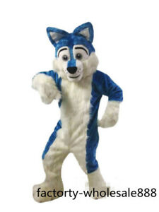 Unisex Long Fur White Husky Mascot Costume Fox Dog Suit Professional Parade Dres