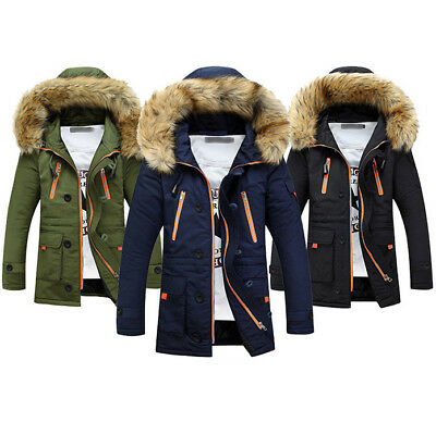 X-Future Men Hooded Faux Fur Collar Warm Winter Outerwear Quilted Thicken Puffer Jacket Black L