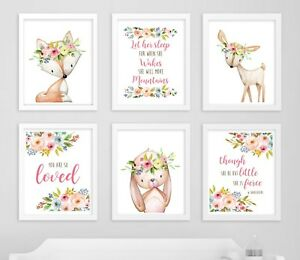 6 rabbit deer fox boho nursery prints quotes floral art baby girl