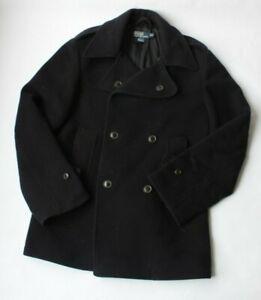 Polo-Ralph-Lauren-100-Wool-Pea-Coat-Peacoat-Double-Breasted-Navy-Blue-Men-039-s-M