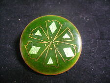 Vintage Green Enameled Goldtone Metal Round Art Brooch Pin