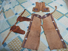 Youth Leather Cowboy Outfit Chaps Vest The Texan Holsters & Belt Wood Bullets